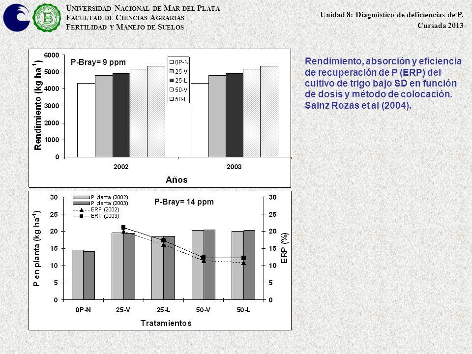 Rendimiento, absorción y eficiencia de recuperación de P (ERP) del cultivo de trigo bajo SD en función de dosis y método de colocación. Sainz Rozas et