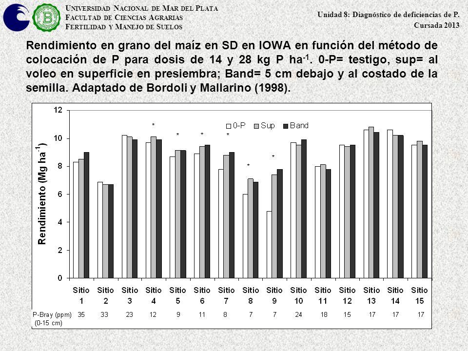 Rendimiento en grano del maíz en SD en IOWA en función del método de colocación de P para dosis de 14 y 28 kg P ha -1. 0-P= testigo, sup= al voleo en