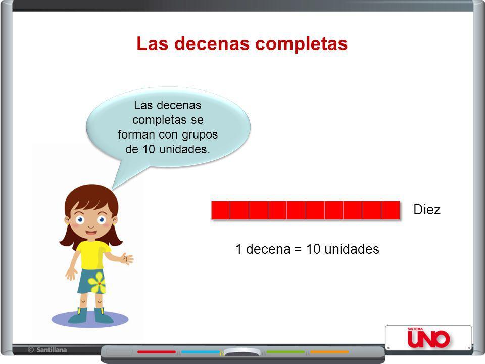 Las decenas completas Las decenas completas se forman con grupos de 10 unidades.