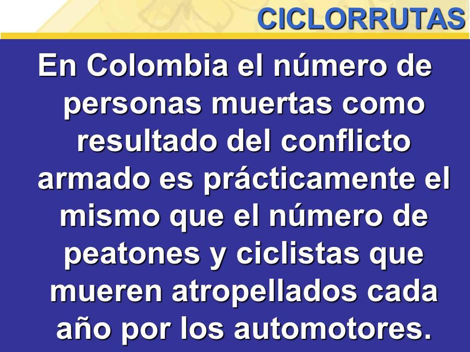 En Colombia el número de personas muertas como resultado del conflicto armado es prácticamente el mismo que el número de peatones y ciclistas que mueren atropellados cada año por los automotores.