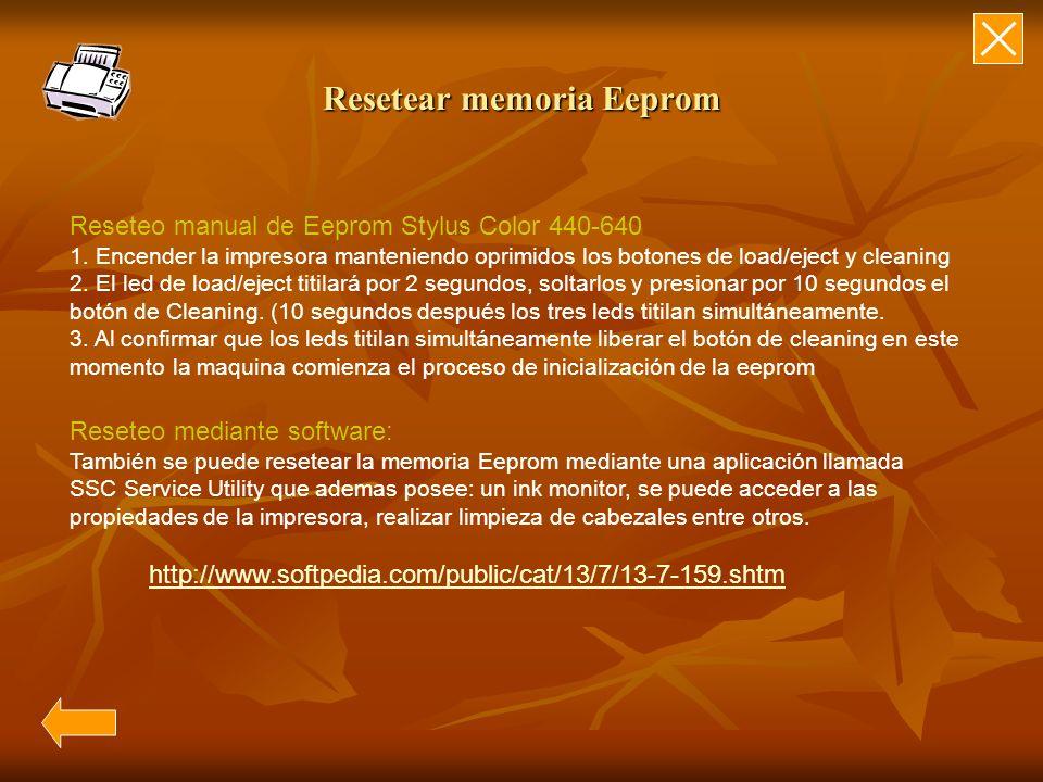 Resetear memoria Eeprom Reseteo manual de Eeprom Stylus Color 440-640 1. Encender la impresora manteniendo oprimidos los botones de load/eject y clean