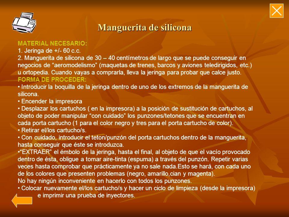 Manguerita de silicona MATERIAL NECESARIO: 1. Jeringa de +/- 60 c.c. 2. Manguerita de silicona de 30 – 40 centímetros de largo que se puede conseguir