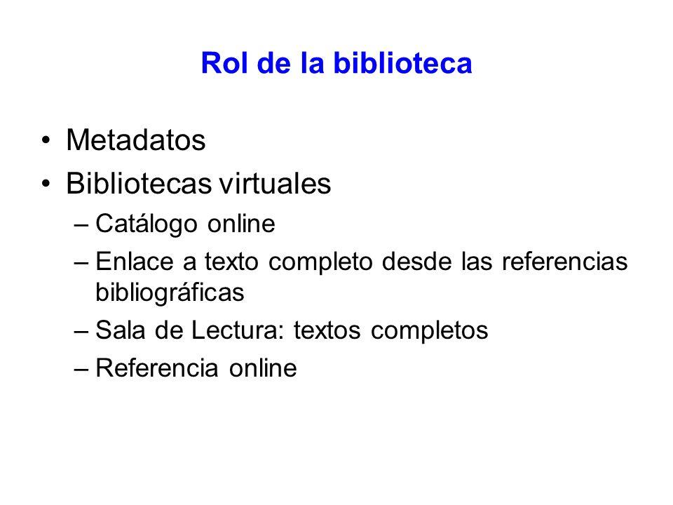 Rol de la biblioteca Metadatos Bibliotecas virtuales –Catálogo online –Enlace a texto completo desde las referencias bibliográficas –Sala de Lectura: