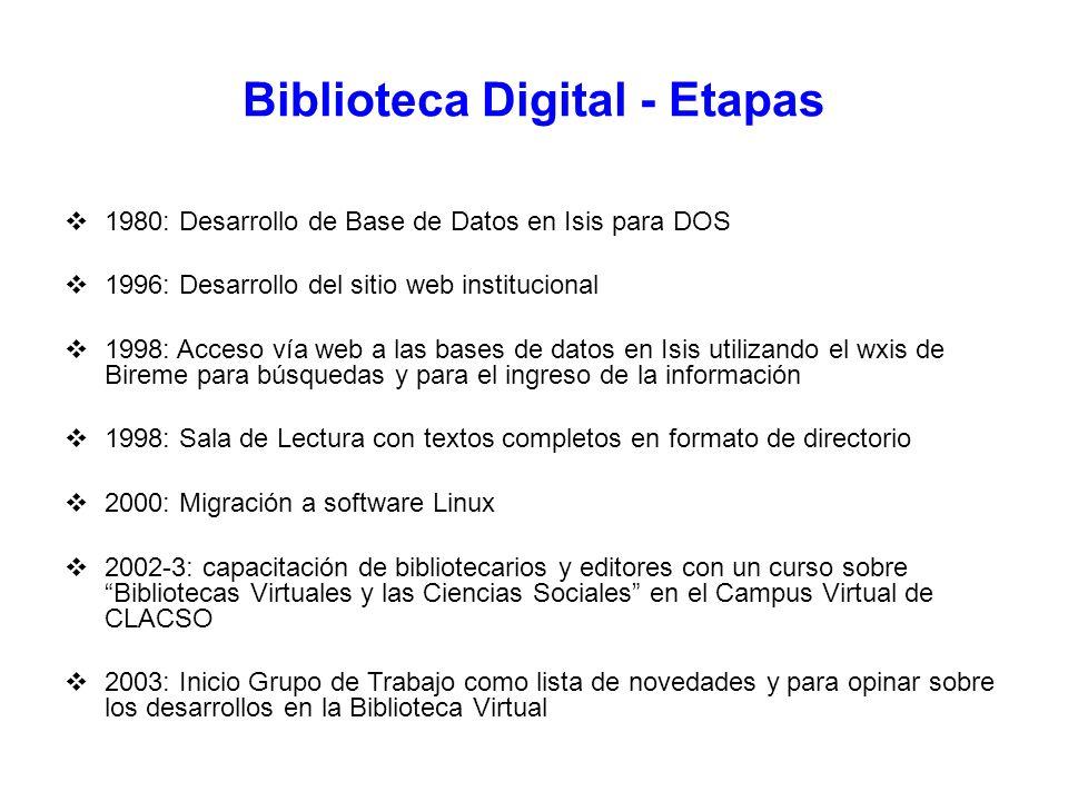 Biblioteca Digital - Etapas 1980: Desarrollo de Base de Datos en Isis para DOS 1996: Desarrollo del sitio web institucional 1998: Acceso vía web a las