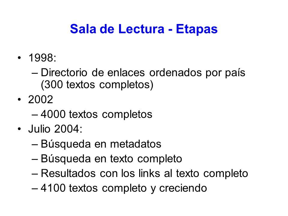 Sala de Lectura - Etapas 1998: –Directorio de enlaces ordenados por país (300 textos completos) 2002 –4000 textos completos Julio 2004: –Búsqueda en m