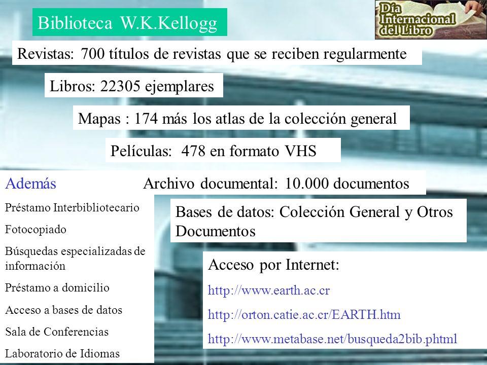 Además Préstamo Interbibliotecario Fotocopiado Búsquedas especializadas de información Préstamo a domicilio Acceso a bases de datos Sala de Conferenci
