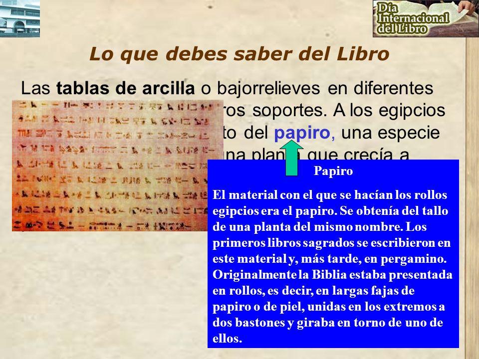 Lo que debes saber del Libro Las tablas de arcilla o bajorrelieves en diferentes piedras fueron los primeros soportes. A los egipcios les corresponde