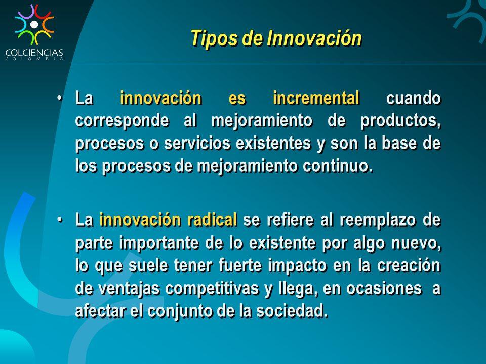 Tipos de Innovación La innovación es incremental cuando corresponde al mejoramiento de productos, procesos o servicios existentes y son la base de los procesos de mejoramiento continuo.