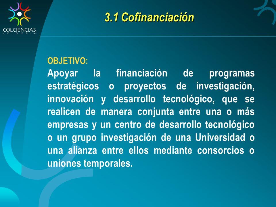 3.1 Cofinanciación OBJETIVO: Apoyar la financiación de programas estratégicos o proyectos de investigación, innovación y desarrollo tecnológico, que s
