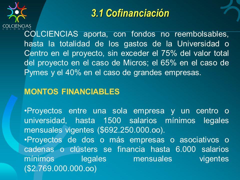 3.1 Cofinanciación COLCIENCIAS aporta, con fondos no reembolsables, hasta la totalidad de los gastos de la Universidad o Centro en el proyecto, sin ex