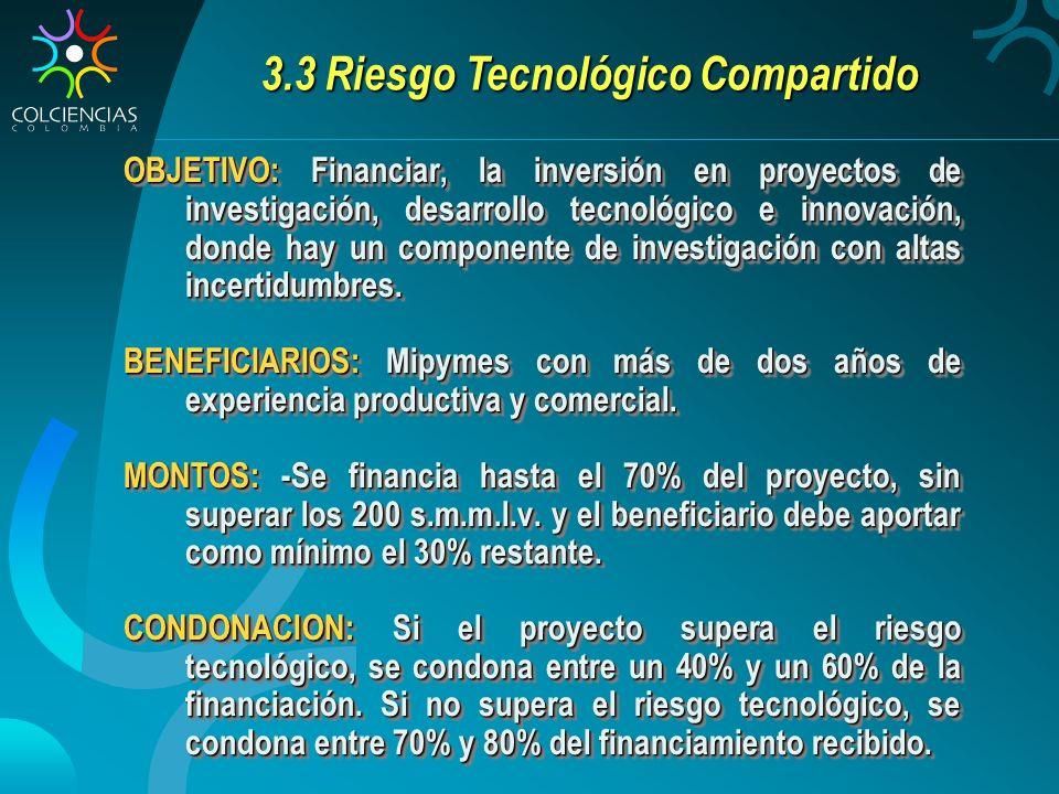 3.3 Riesgo Tecnológico Compartido OBJETIVO: Financiar, la inversión en proyectos de investigación, desarrollo tecnológico e innovación, donde hay un componente de investigación con altas incertidumbres.