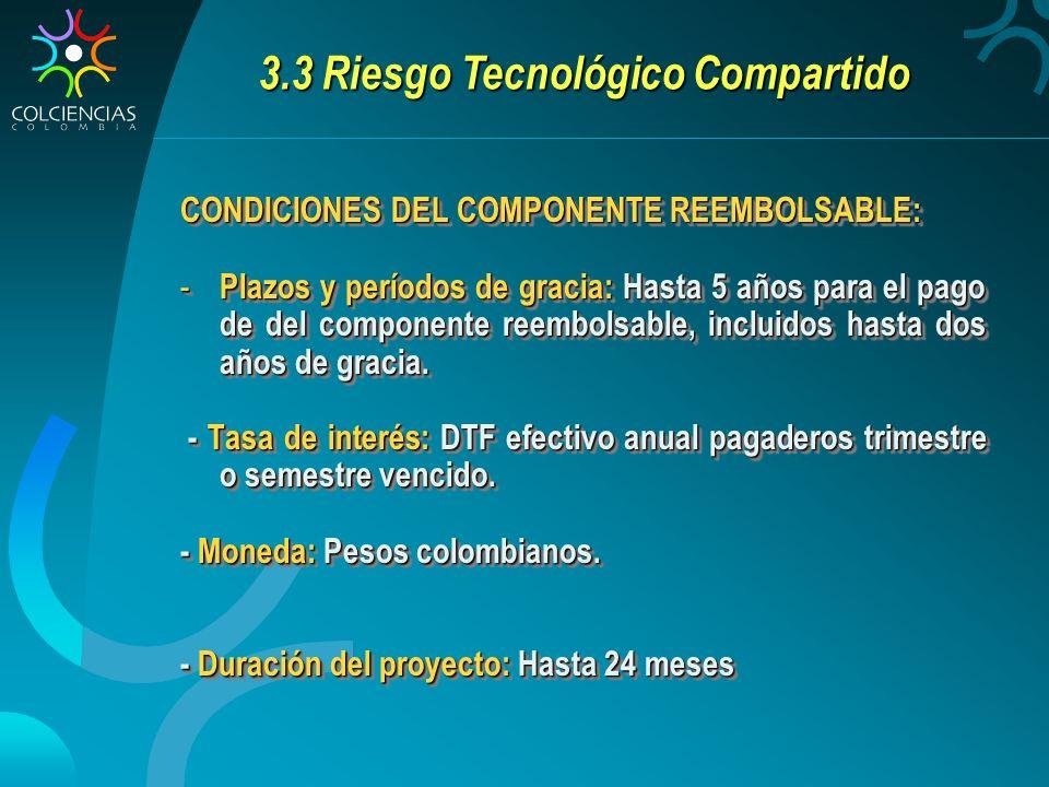 3.3 Riesgo Tecnológico Compartido CONDICIONES DEL COMPONENTE REEMBOLSABLE: - Plazos y períodos de gracia: Hasta 5 años para el pago de del componente reembolsable, incluidos hasta dos años de gracia.