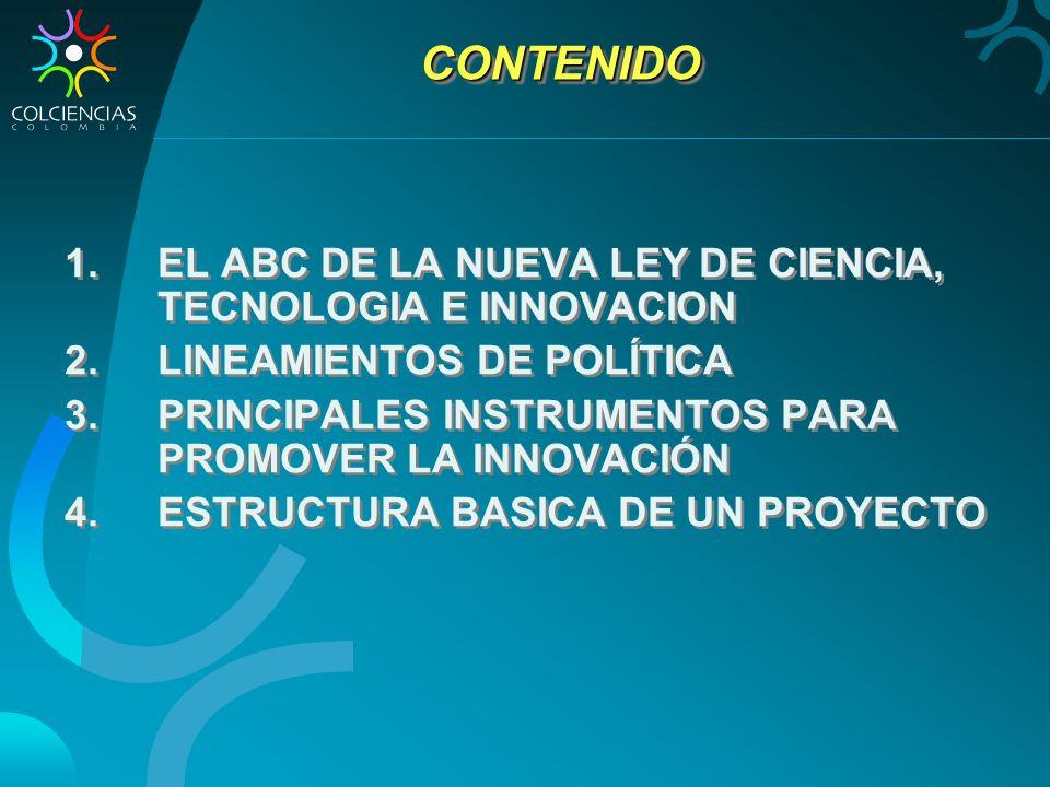 CONTENIDOCONTENIDO 1.EL ABC DE LA NUEVA LEY DE CIENCIA, TECNOLOGIA E INNOVACION 2.LINEAMIENTOS DE POLÍTICA 3.PRINCIPALES INSTRUMENTOS PARA PROMOVER LA INNOVACIÓN 4.ESTRUCTURA BASICA DE UN PROYECTO 1.EL ABC DE LA NUEVA LEY DE CIENCIA, TECNOLOGIA E INNOVACION 2.LINEAMIENTOS DE POLÍTICA 3.PRINCIPALES INSTRUMENTOS PARA PROMOVER LA INNOVACIÓN 4.ESTRUCTURA BASICA DE UN PROYECTO