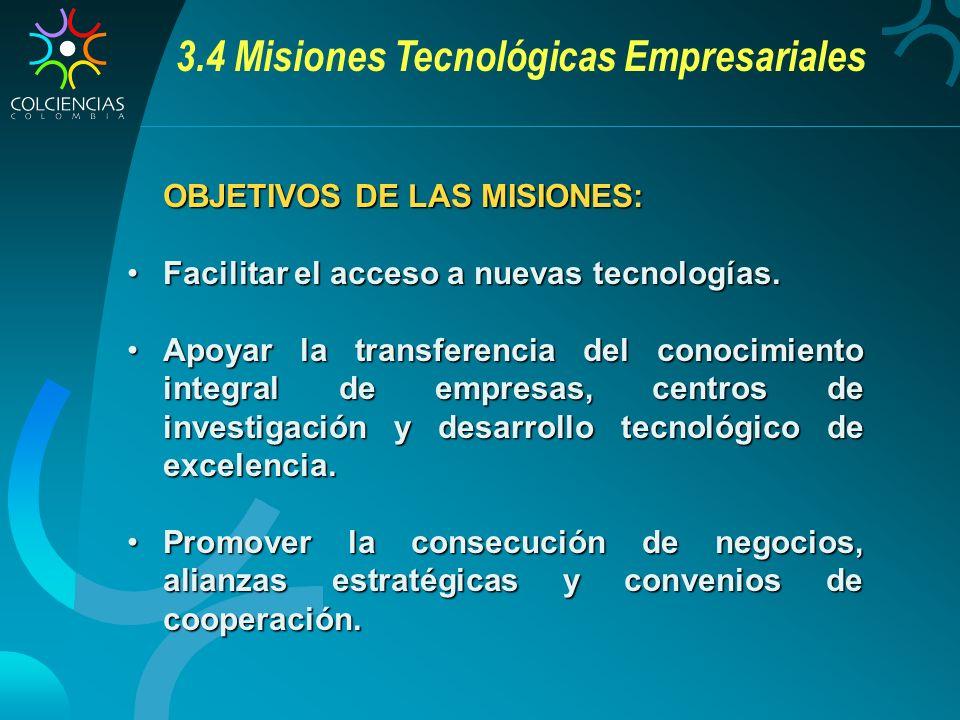 3.4 Misiones Tecnológicas Empresariales OBJETIVOS DE LAS MISIONES: Facilitar el acceso a nuevas tecnologías.Facilitar el acceso a nuevas tecnologías.