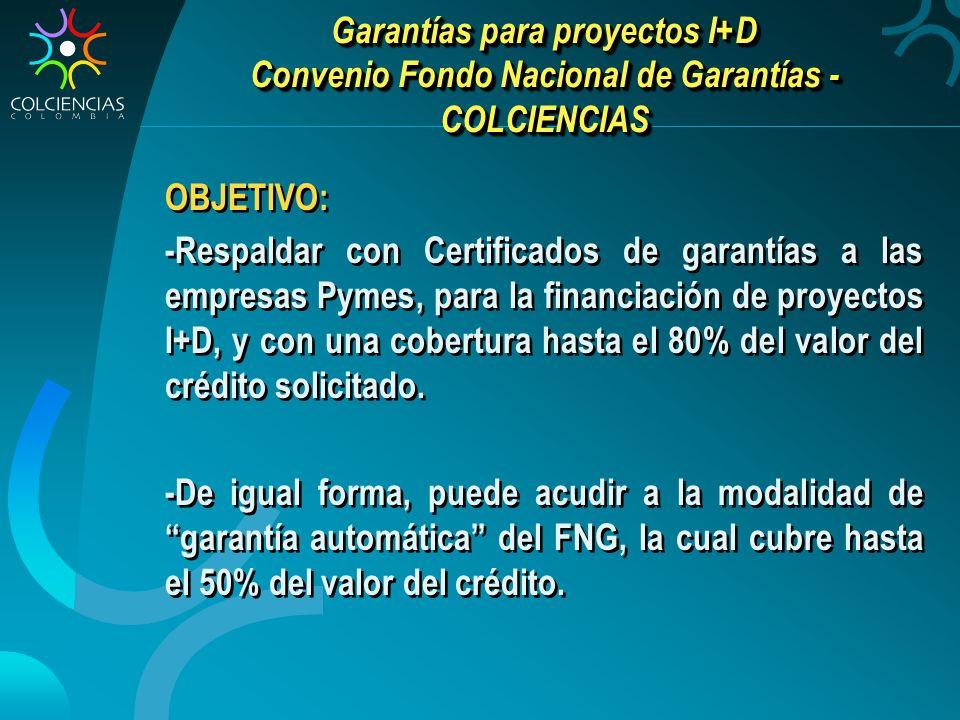 Garantías para proyectos I+D Convenio Fondo Nacional de Garantías - COLCIENCIAS OBJETIVO: -Respaldar con Certificados de garantías a las empresas Pymes, para la financiación de proyectos I+D, y con una cobertura hasta el 80% del valor del crédito solicitado.