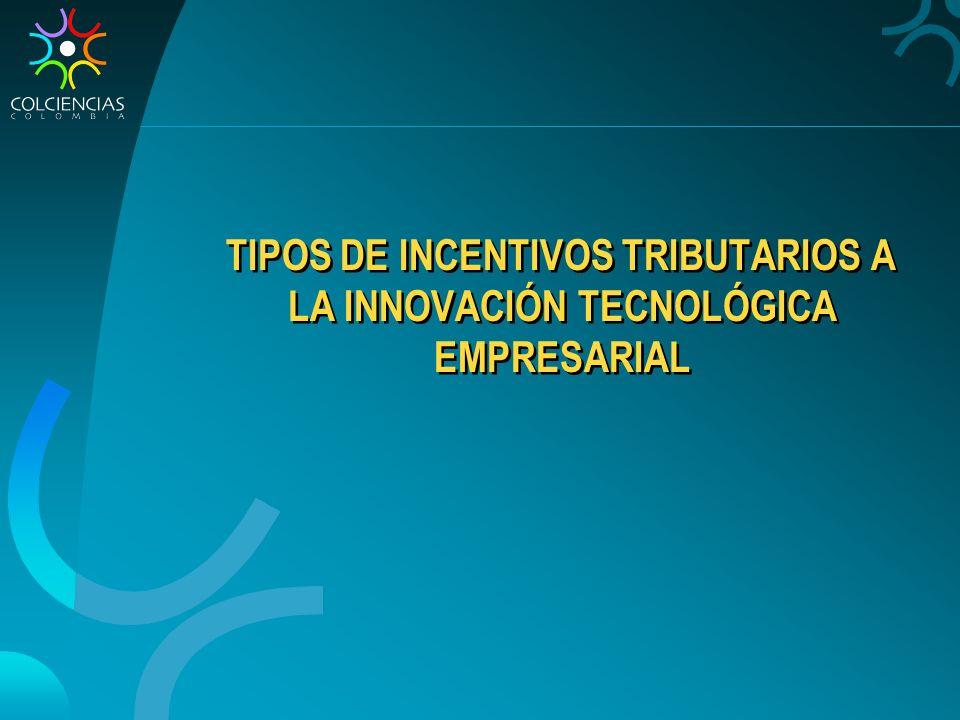 TIPOS DE INCENTIVOS TRIBUTARIOS A LA INNOVACIÓN TECNOLÓGICA EMPRESARIAL