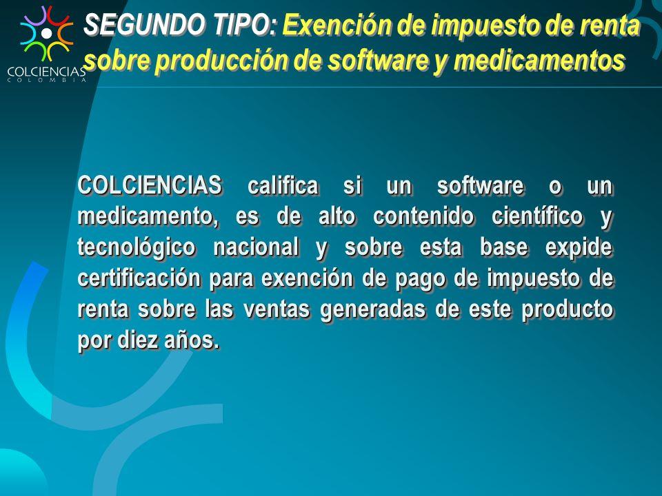 SEGUNDO TIPO: Exención de impuesto de renta sobre producción de software y medicamentos COLCIENCIAS califica si un software o un medicamento, es de al