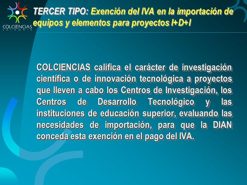 TERCER TIPO: Exención del IVA en la importación de equipos y elementos para proyectos I+D+I COLCIENCIAS califica el carácter de investigación científi