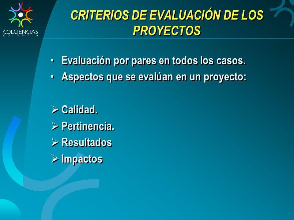 CRITERIOS DE EVALUACIÓN DE LOS PROYECTOS Evaluación por pares en todos los casos. Aspectos que se evalúan en un proyecto: Calidad. Pertinencia. Result