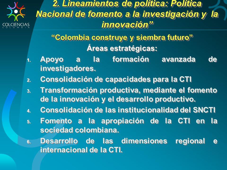 2. Lineamientos de política: Política Nacional de fomento a la investigación y la innovación Colombia construye y siembra futuro Áreas estratégicas: 1