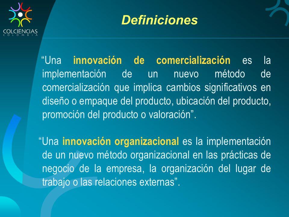 Definiciones Una innovación de comercialización es la implementación de un nuevo método de comercialización que implica cambios significativos en diseño o empaque del producto, ubicación del producto, promoción del producto o valoración.