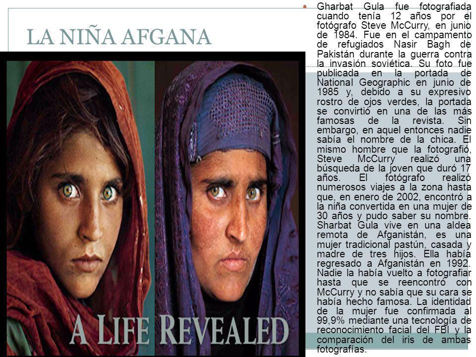 LA NIÑA AFGANA Gharbat Gula fue fotografiada cuando tenía 12 años por el fotógrafo Steve McCurry, en junio de 1984.