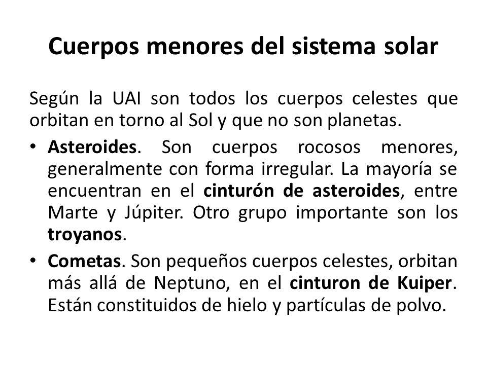 Cuerpos menores del sistema solar Según la UAI son todos los cuerpos celestes que orbitan en torno al Sol y que no son planetas. Asteroides. Son cuerp