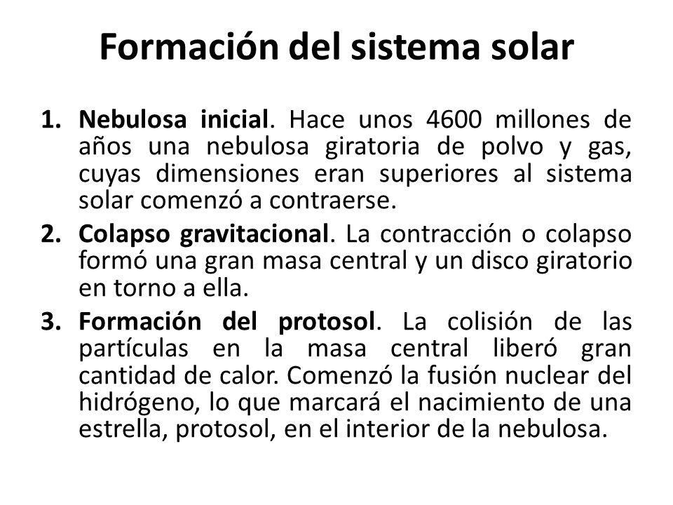 Formación del sistema solar 1.Nebulosa inicial. Hace unos 4600 millones de años una nebulosa giratoria de polvo y gas, cuyas dimensiones eran superior
