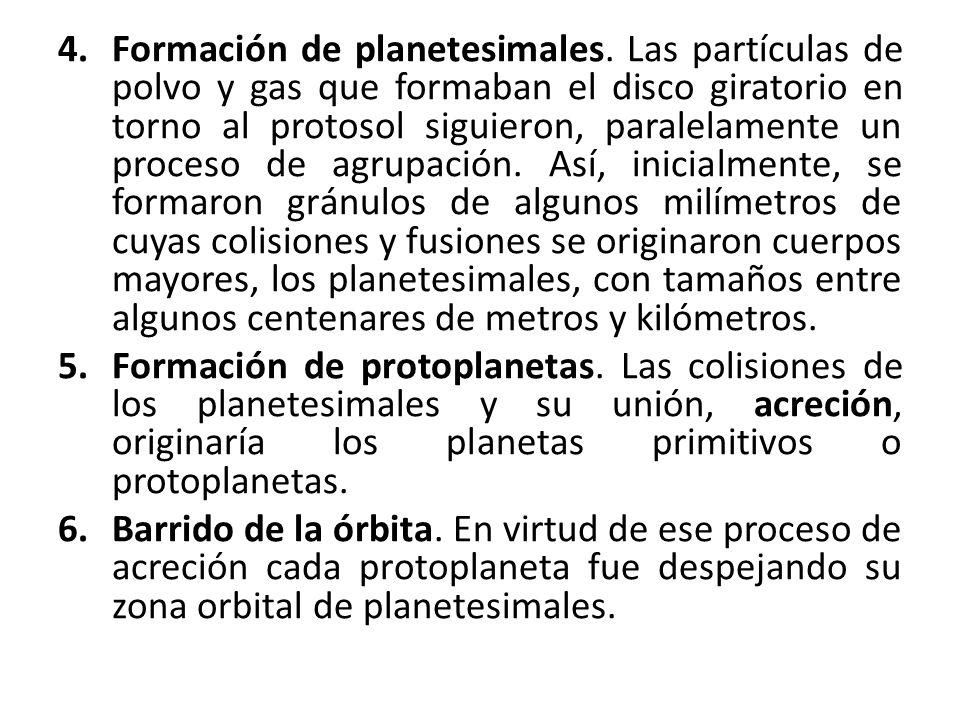 4.Formación de planetesimales. Las partículas de polvo y gas que formaban el disco giratorio en torno al protosol siguieron, paralelamente un proceso