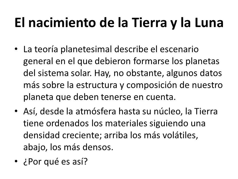 El nacimiento de la Tierra y la Luna La teoría planetesimal describe el escenario general en el que debieron formarse los planetas del sistema solar.