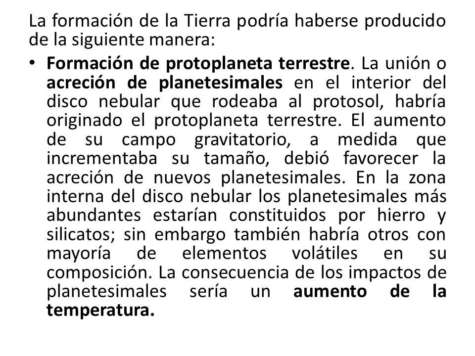 La formación de la Tierra podría haberse producido de la siguiente manera: Formación de protoplaneta terrestre. La unión o acreción de planetesimales