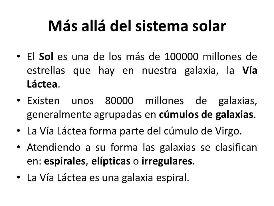 Más allá del sistema solar El Sol es una de los más de 100000 millones de estrellas que hay en nuestra galaxia, la Vía Láctea. Existen unos 80000 mill