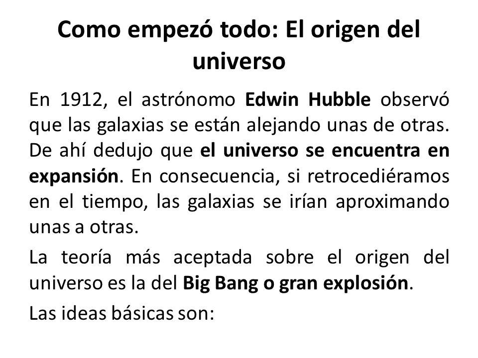 Como empezó todo: El origen del universo En 1912, el astrónomo Edwin Hubble observó que las galaxias se están alejando unas de otras. De ahí dedujo qu