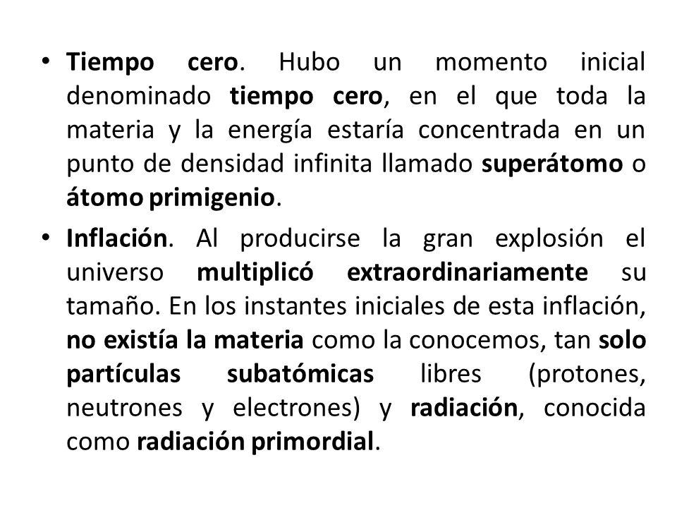 Tiempo cero. Hubo un momento inicial denominado tiempo cero, en el que toda la materia y la energía estaría concentrada en un punto de densidad infini