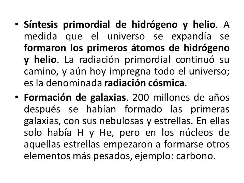 Síntesis primordial de hidrógeno y helio. A medida que el universo se expandía se formaron los primeros átomos de hidrógeno y helio. La radiación prim