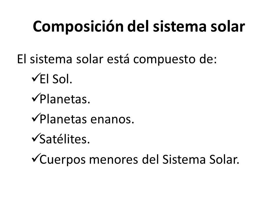 Composición del sistema solar El sistema solar está compuesto de: El Sol. Planetas. Planetas enanos. Satélites. Cuerpos menores del Sistema Solar.
