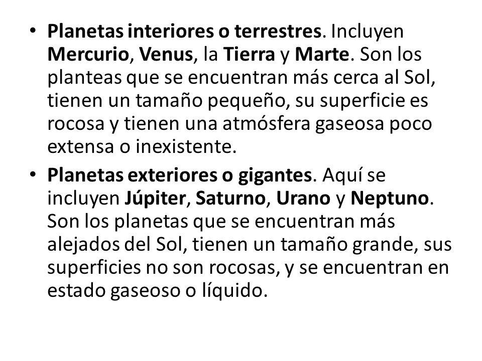 Planetas interiores o terrestres. Incluyen Mercurio, Venus, la Tierra y Marte. Son los planteas que se encuentran más cerca al Sol, tienen un tamaño p