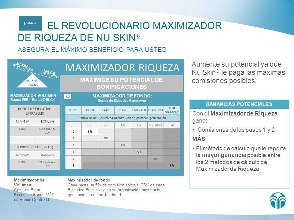 Aumente su potencial ya que Nu Skin ® le paga las máximas comisiones posibles.