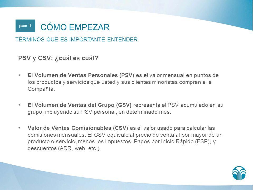 A cada producto se le asigna un valor en PSV y un valor en CSV.