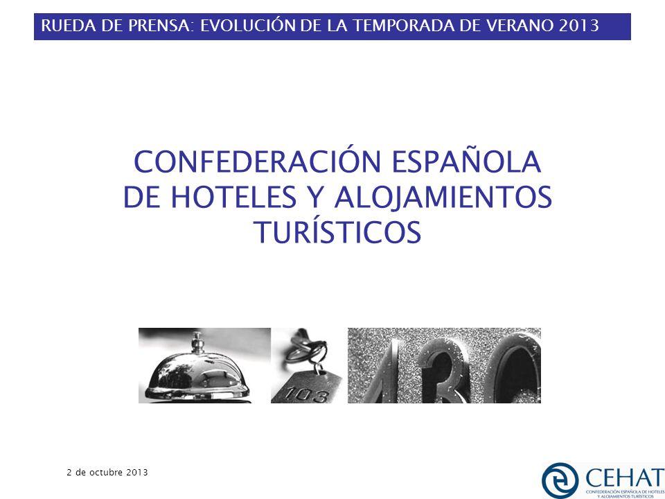 RUEDA DE PRENSA: EVOLUCIÓN DE LA TEMPORADA DE VERANO 2013 2 de octubre 2013 1 CONFEDERACIÓN ESPAÑOLA DE HOTELES Y ALOJAMIENTOS TURÍSTICOS