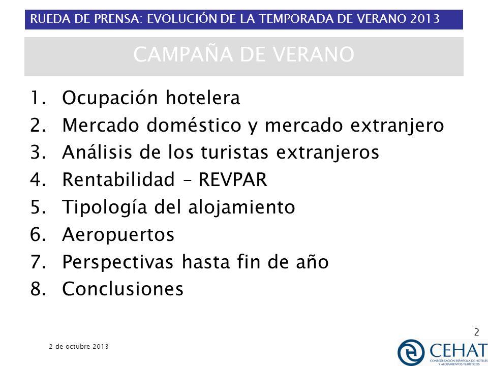 RUEDA DE PRENSA: EVOLUCIÓN DE LA TEMPORADA DE VERANO 2013 2 de octubre 2013 2 CAMPAÑA DE VERANO 1.Ocupación hotelera 2.Mercado doméstico y mercado ext