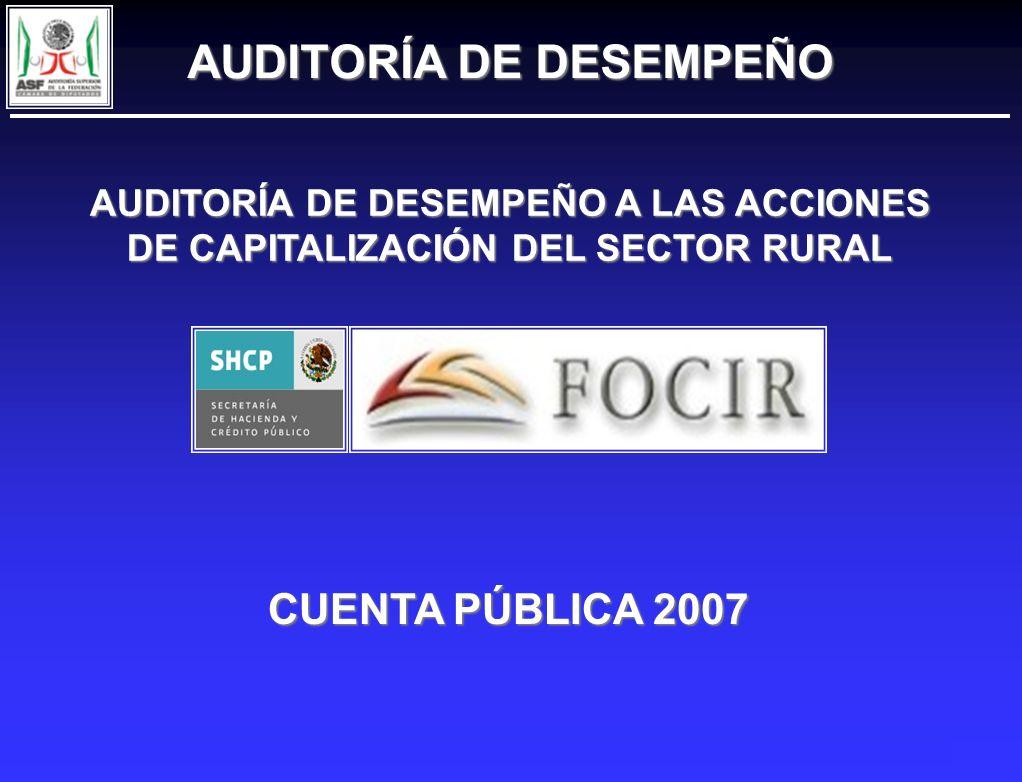AUDITORÍA DE DESEMPEÑO A LAS ACCIONES DE CAPITALIZACIÓN DEL SECTOR RURAL CUENTA PÚBLICA 2007 AUDITORÍA DE DESEMPEÑO AUDITORÍA DE DESEMPEÑO