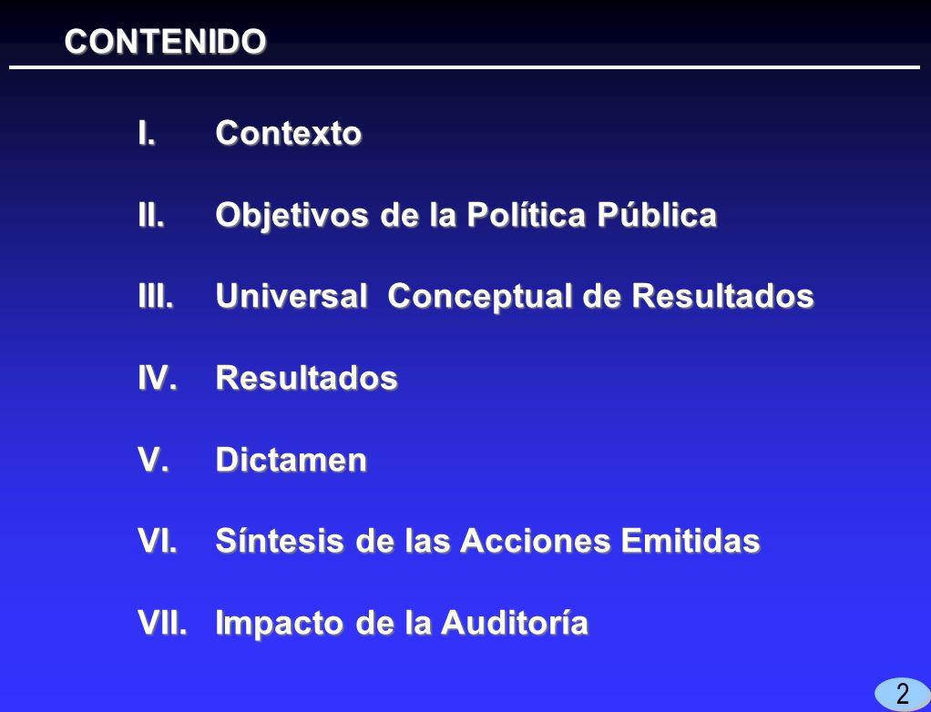 I.Contexto II.Objetivos de la Política Pública III.Universal Conceptual de Resultados IV.Resultados V.Dictamen VI.Síntesis de las Acciones Emitidas VII.Impacto de la Auditoría CONTENIDO CONTENIDO 2