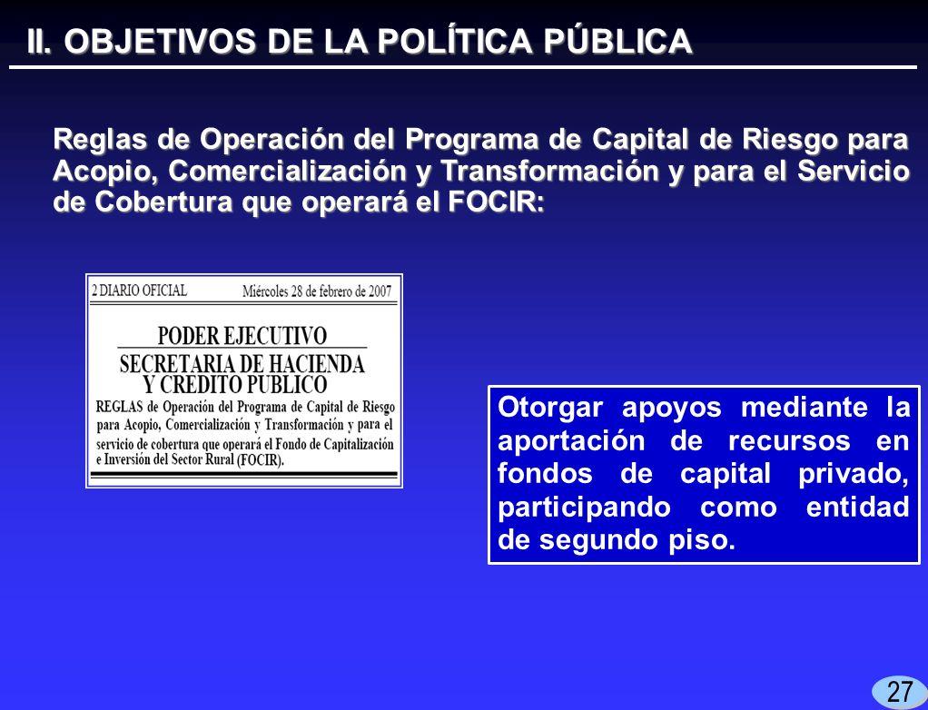 27 Otorgar apoyos mediante la aportación de recursos en fondos de capital privado, participando como entidad de segundo piso.