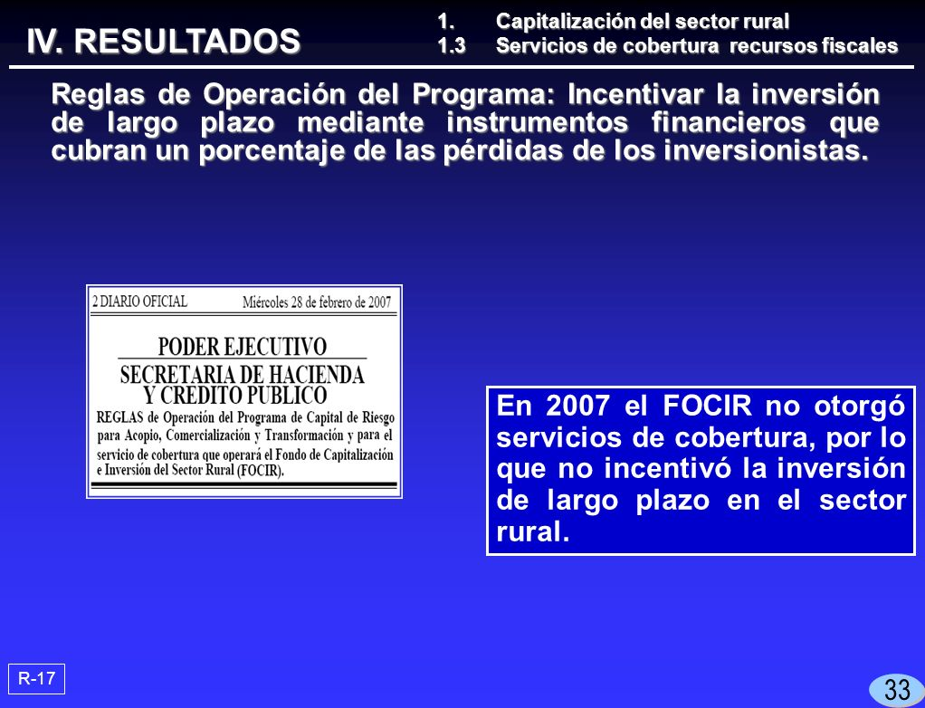 En 2007 el FOCIR no otorgó servicios de cobertura, por lo que no incentivó la inversión de largo plazo en el sector rural.