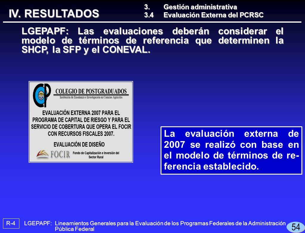 LGEPAPF: Lineamientos Generales para la Evaluación de los Programas Federales de la Administración Pública Federal R-4 La evaluación externa de 2007 se realizó con base en el modelo de términos de re- ferencia establecido.