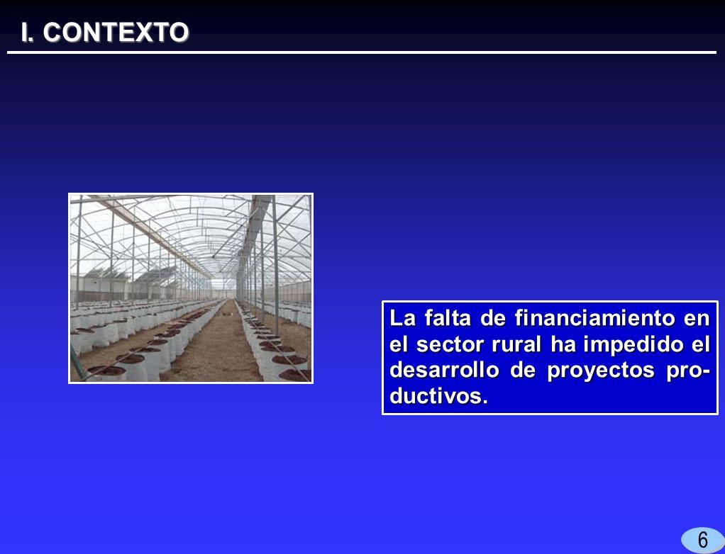 I. CONTEXTO 6 La falta de financiamiento en el sector rural ha impedido el desarrollo de proyectos pro- ductivos.