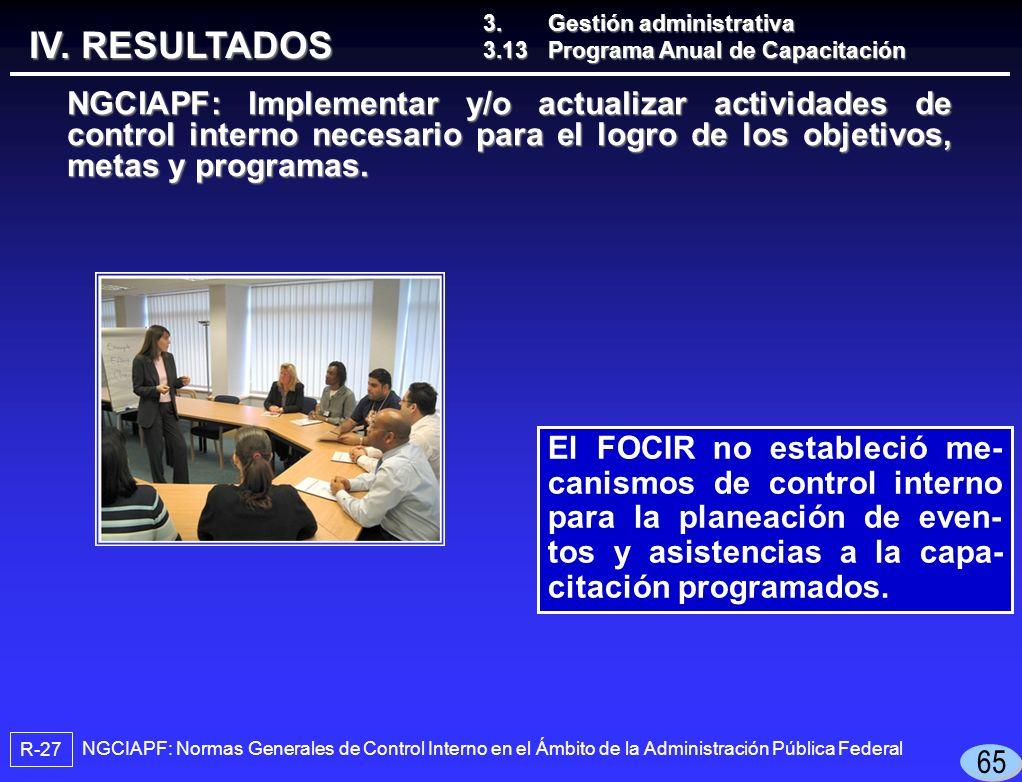 El FOCIR no estableció me- canismos de control interno para la planeación de even- tos y asistencias a la capa- citación programados.