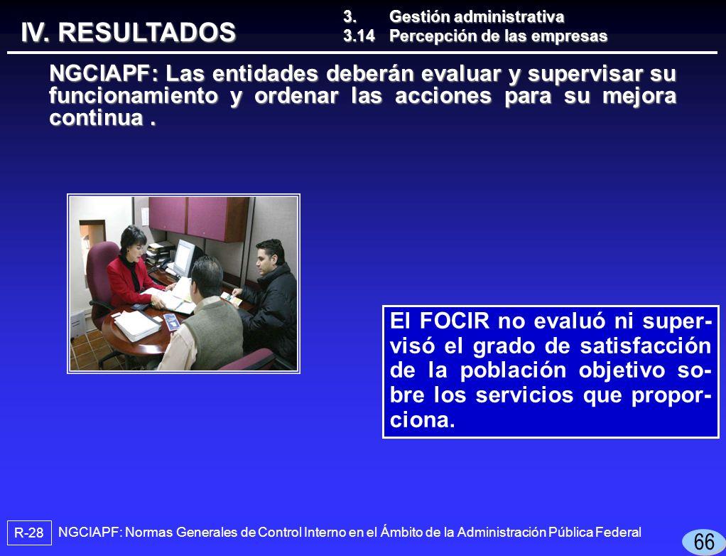El FOCIR no evaluó ni super- visó el grado de satisfacción de la población objetivo so- bre los servicios que propor- ciona.