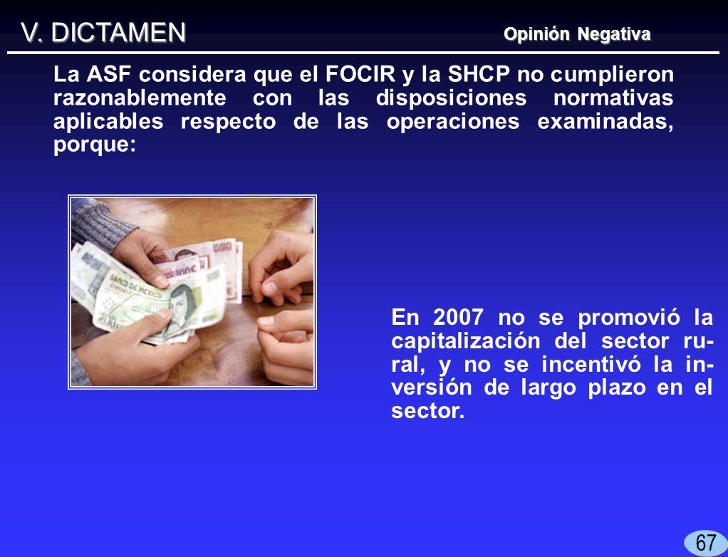 V. DICTAMEN En 2007 no se promovió la capitalización del sector ru- ral, y no se incentivó la in- versión de largo plazo en el sector. Opinión Negativ
